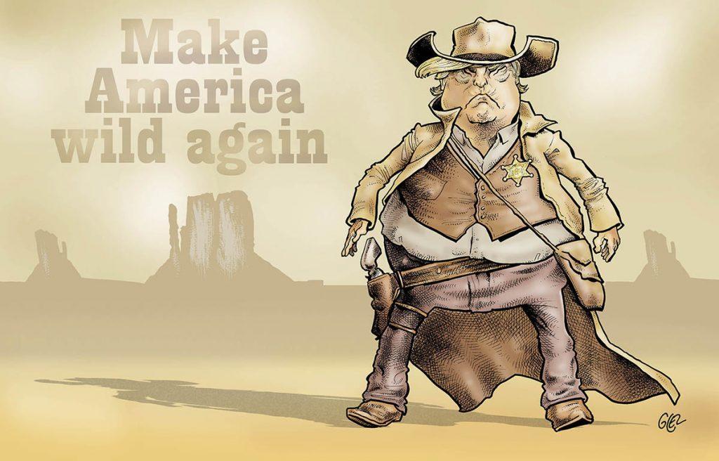 dessin humoristique de Glez sur la procédure de destitution de Donald Trump et son acquittement