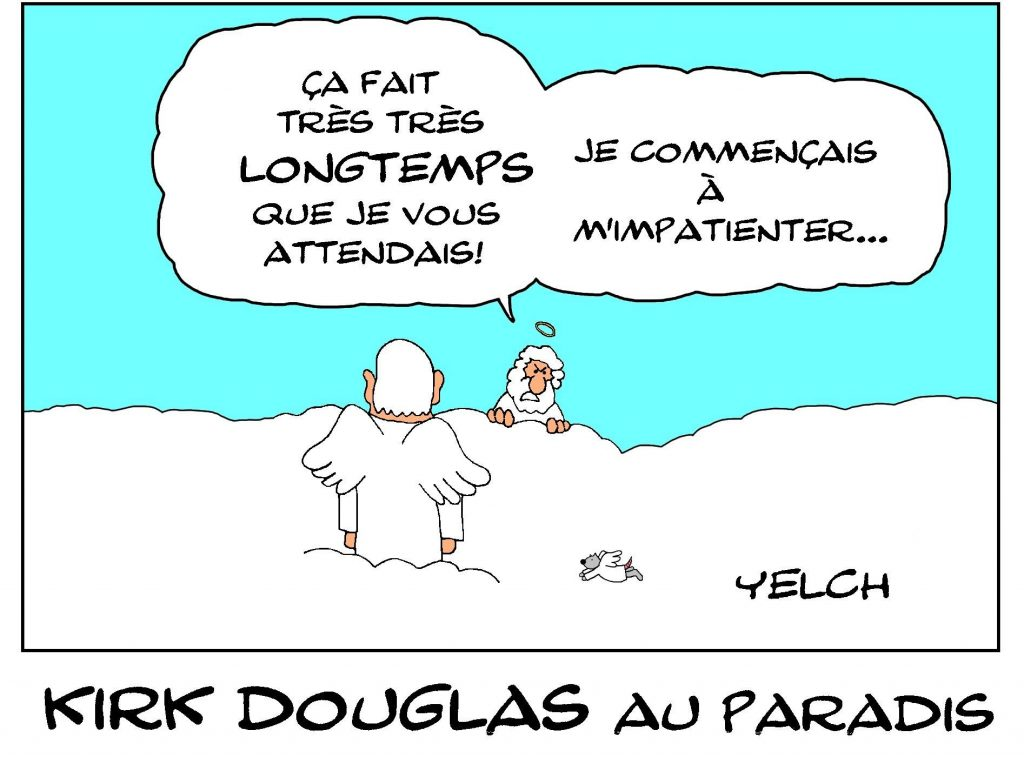 dessin de Yelch sur la disparition de Kirk Douglas