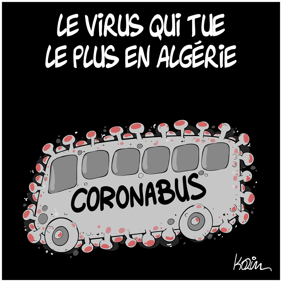 dessin d'actualité humoristique de Karim sur l'épidémie à coronavirus qui s'est déclarée en Chine à Wuhan et les accidents de bus en Algérie