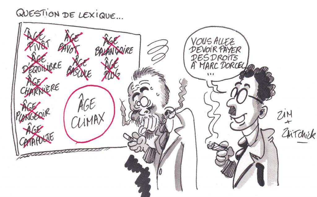 dessin de Zaïtchick sur Édouard Philippe cherchant un terme de remplacement à l'âge pivot