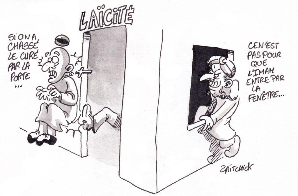 dessin de Zaïtchick sur la laïcité menacée par la montée de la religiosité