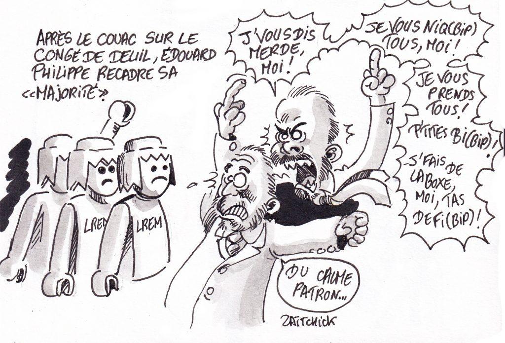 dessin de Zaïtchick sur Édouard Philippe qui recadre sa majorité de députés Playmobil après le couac sur le congé pour décès d'un enfant