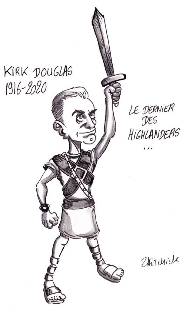 dessin humoristique de Zaïtchick sur la disparition de Kirk Douglas