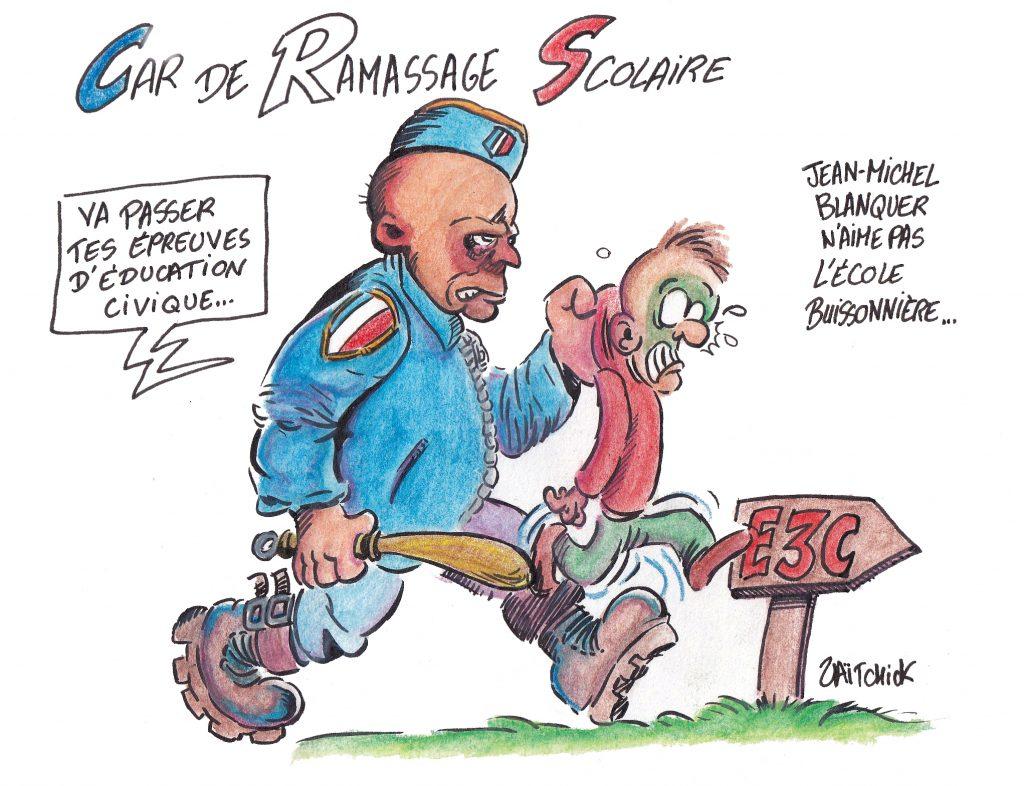 dessin de Zaïtchick sur Blanquer qui fait déployer la police pour forcer les lycéens à passer les E3C
