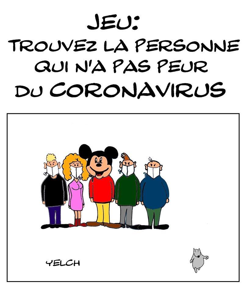 dessin de Yelch sur l'épidémie à coronavirus qui s'est déclarée en Chine à Wuhan et la peur générale qui s'installe
