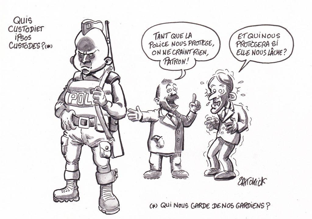 dessin de Zaïtchick sur le gouvernement qui ne tient que grâce à sa police