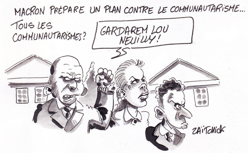dessin de Zaïtchick sur des bourgeois communautaristes radicalisés