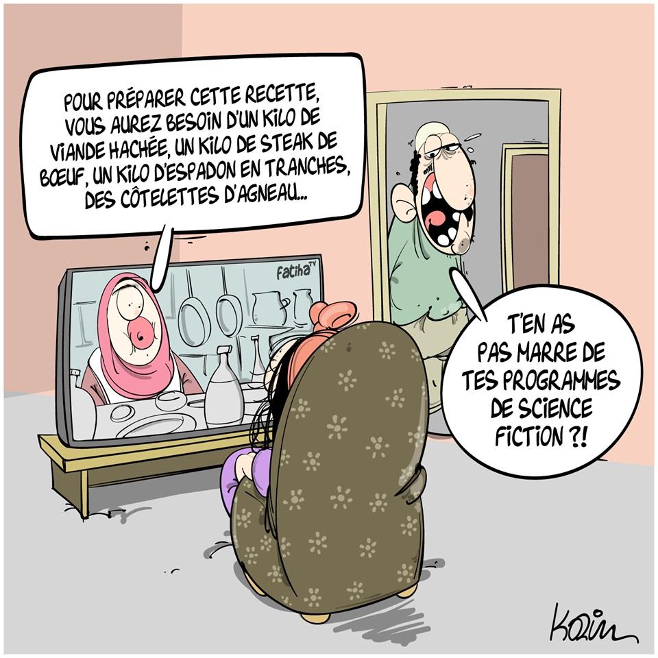 dessin d'actualité humoristique de Karim sur les pénuries et la flambée des prix de l'alimentaire en Algérie