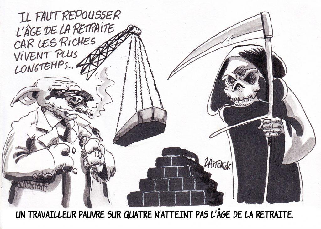 dessin humoristique de Zaïtchick sur la réforme des retraites et l'espérance de vie des travailleurs pauvres
