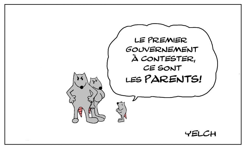 dessin de Yelch sur la contestation gouvernementale et l'autorité parentale contestée par les enfants