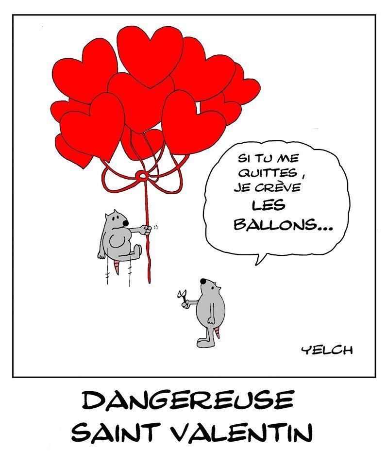 dessin de Yelch sur les amoureux et la Saint Valentin