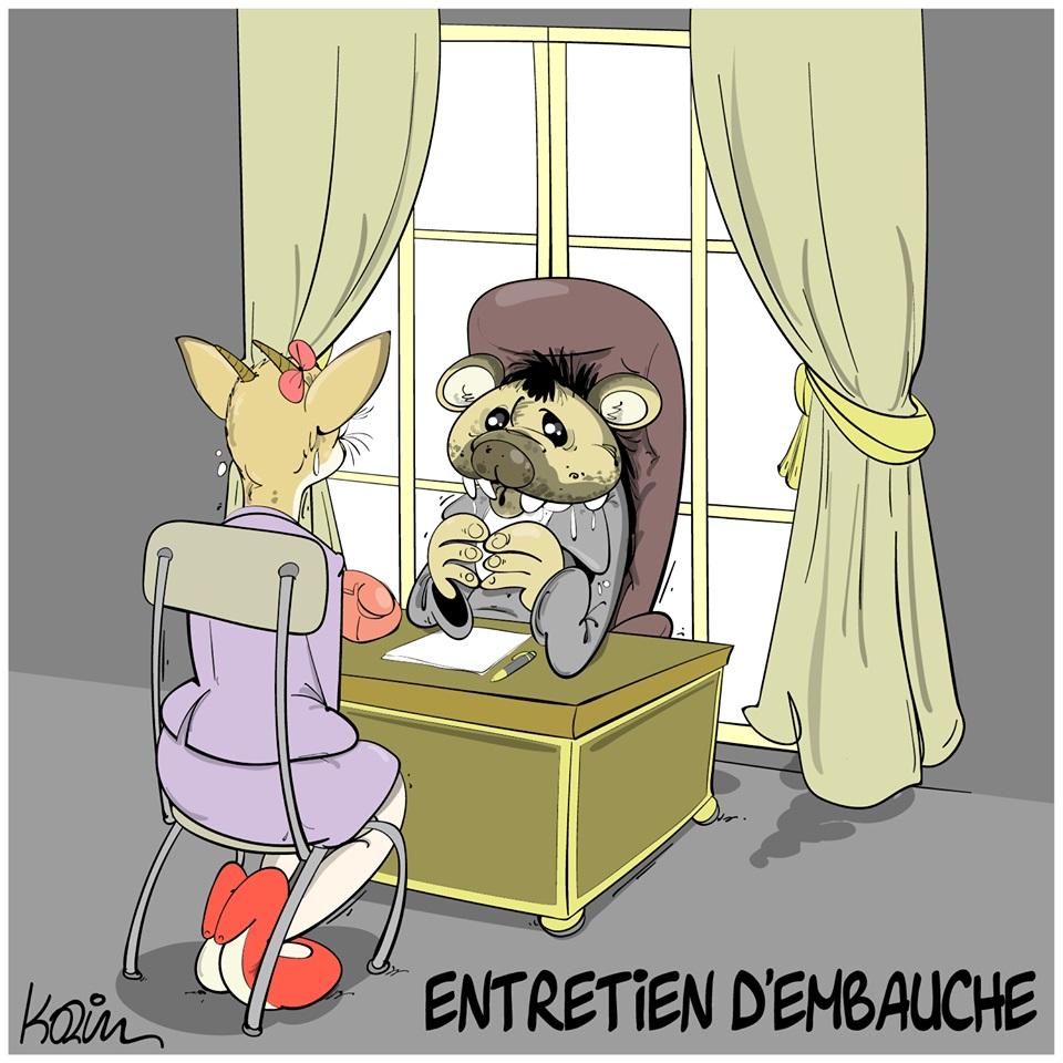 dessin d'actualité humoristique de Karim sur les entretiens d'embauche