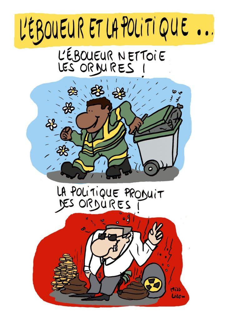 dessin de Miss Lilou sur les ordures et la politique