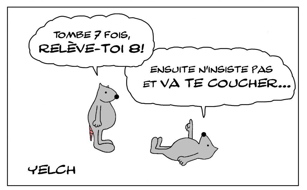 dessin de Yelch sur les problèmes de la vie et la façon de les affronter