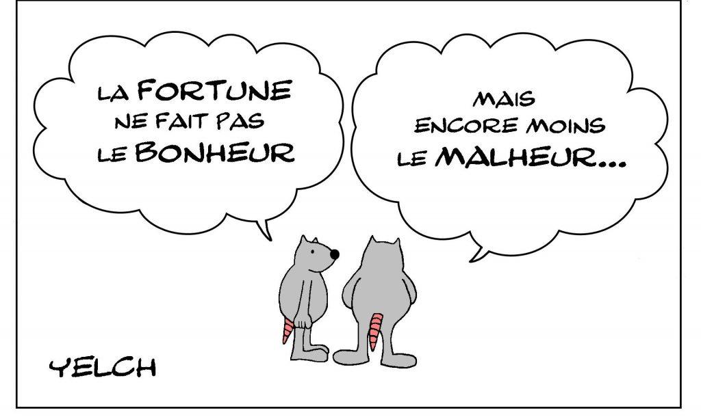 dessin de Yelch dessin de Yelch sur le proverbe l'argent ne fait pas le bonheur