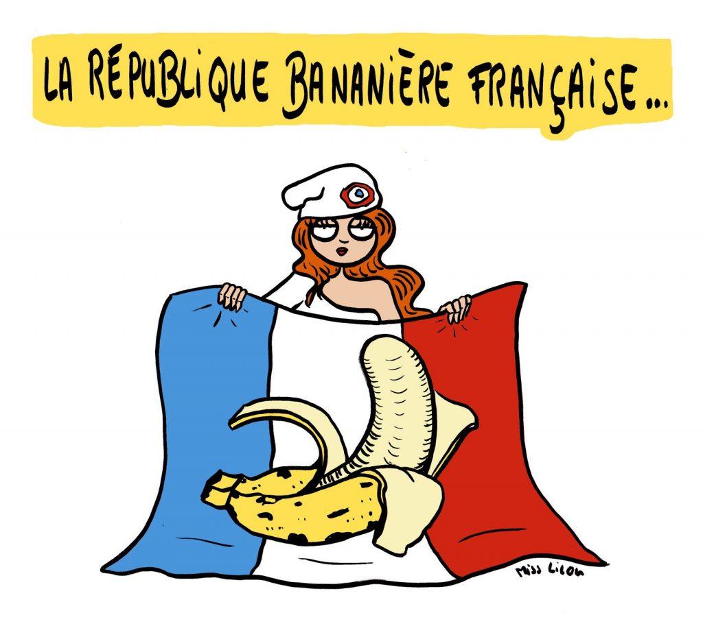 dessin de Miss Lilou sur la République Bananière Française