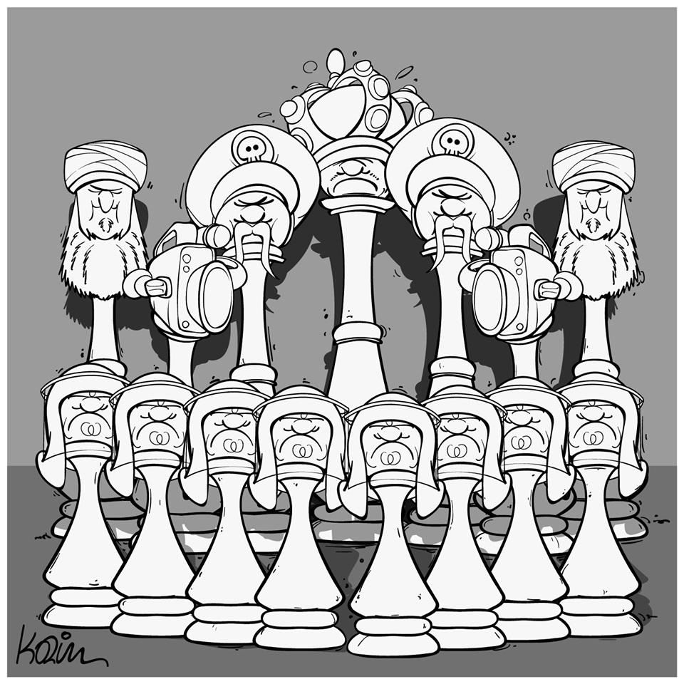 dessin d'actualité humoristique de Karim sur le pouvoir et le jeu d'échecs