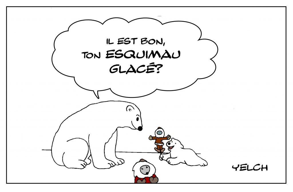 dessin de Yelch sur les ours polaires et les esquimaux glacés