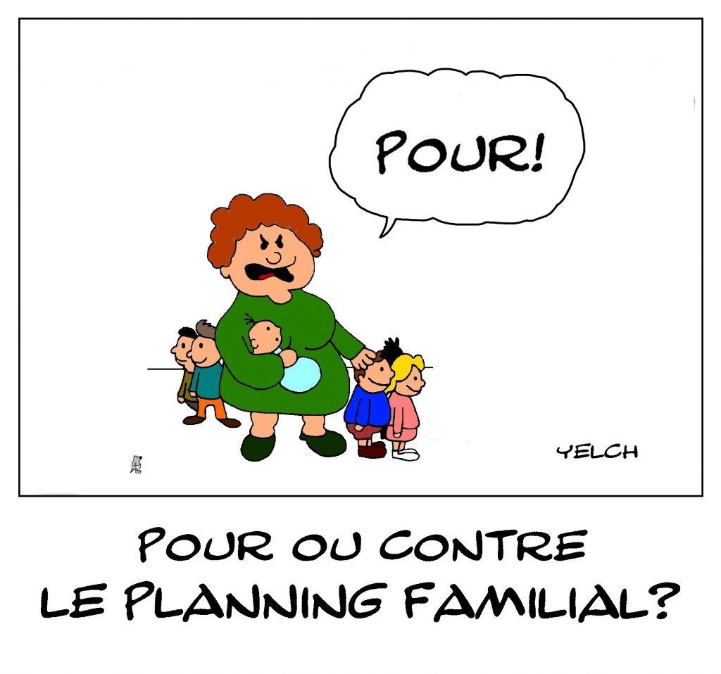 dessin de Yelch sur pour ou contre le planning familial
