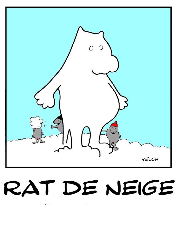 dessin de Yelch sur les rats et les bonhommes de neige