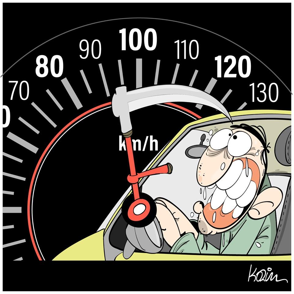 dessin d'actualité humoristique de Karim sur les dangers de la vitesse en voiture