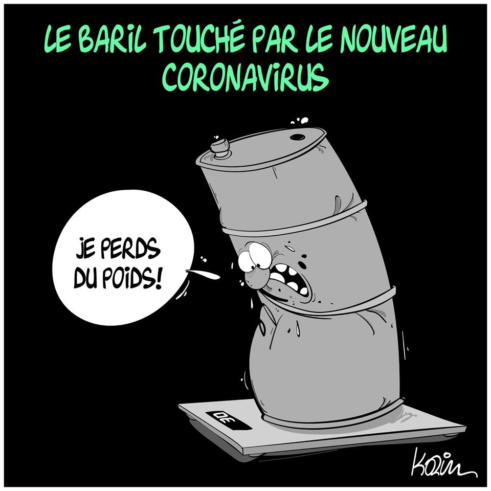 dessin d'actualité humoristique de Karim sur la psychose générée par l'épidémie de coronavirus Covid-19 et la chute des cours du pétrole