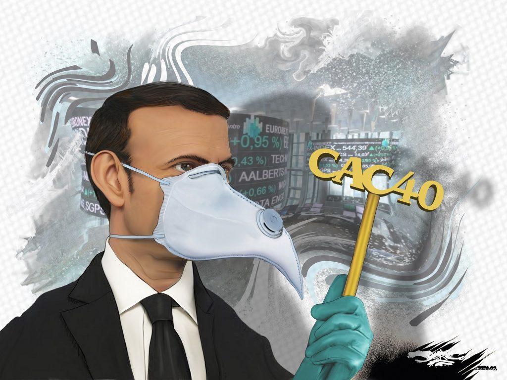 dessin d'actualité humoristique de Jerc sur la protection des intérêts financiers français face à l'épidémie de coronavirus Covid-19 au détriment de l'être humain