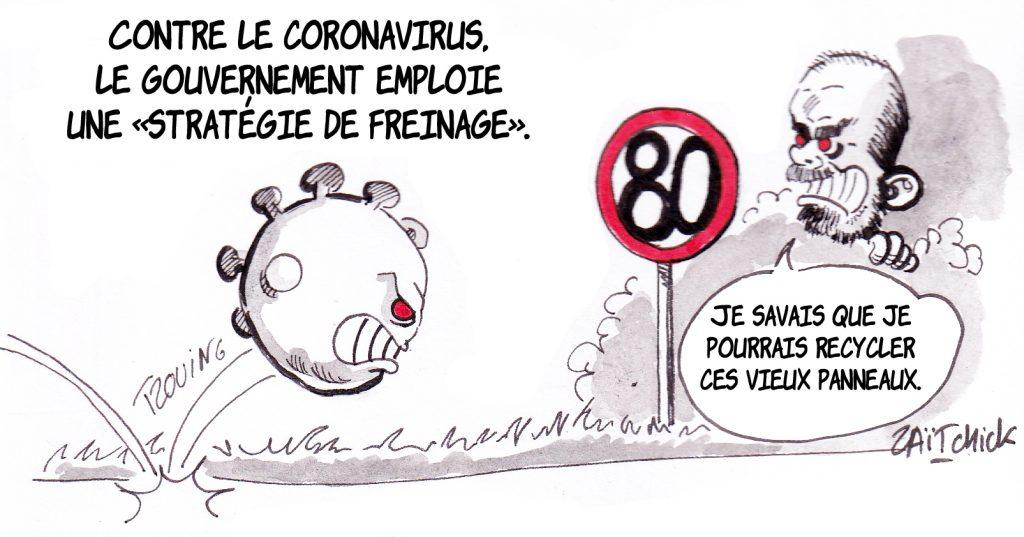 dessin de Zaïtchick sur la stratégie gouvernementale contre l'épidémie de coronavirus Covid-19
