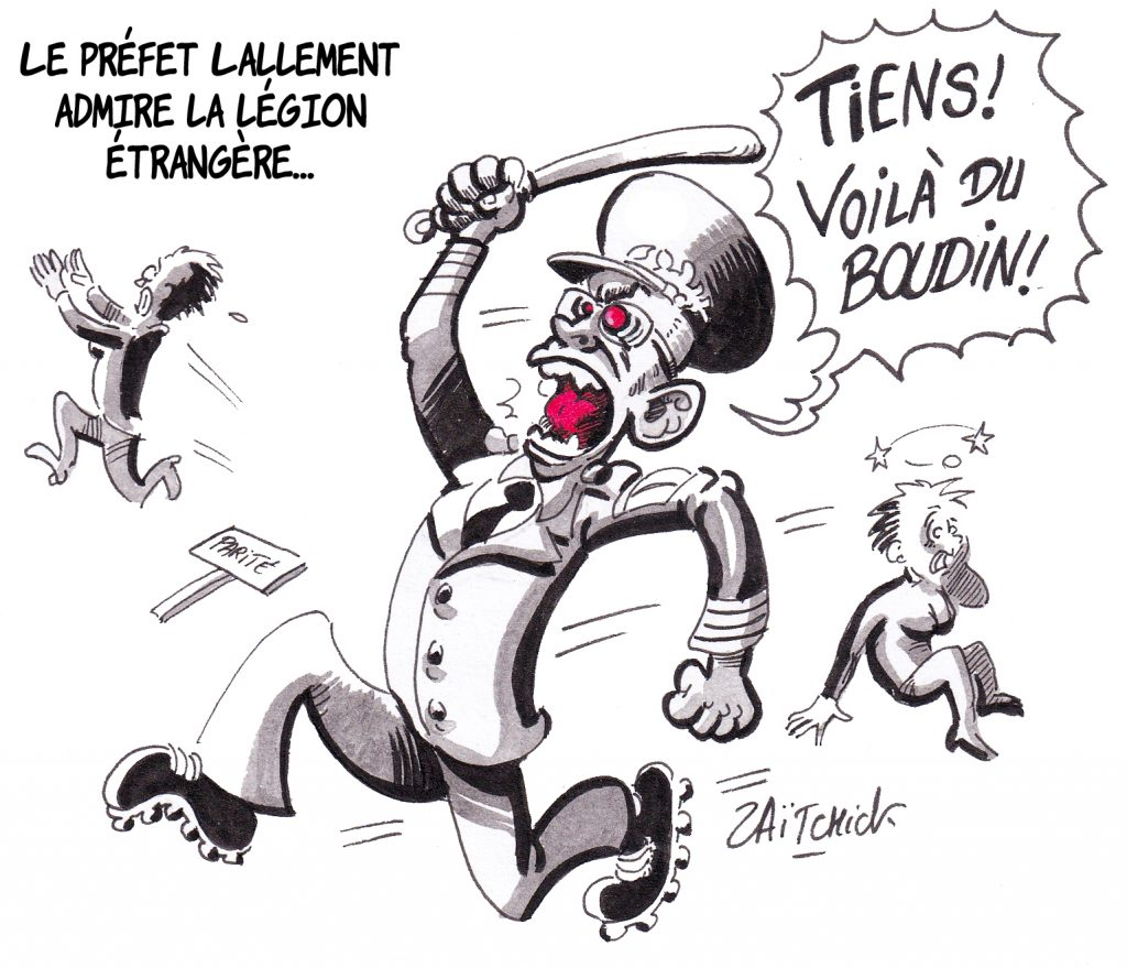 dessin de Zaïtchick sur Didier Lallement et les violences policières contre les manifestations féministes du 8 mars