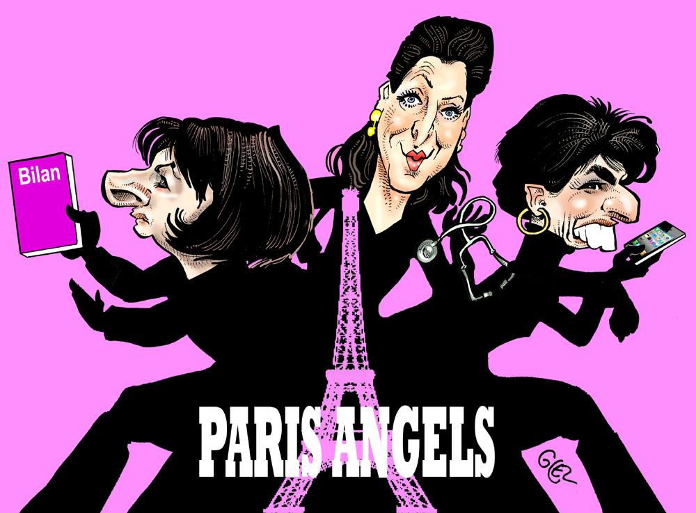 dessin humoristique de Glez sur les candidates à la Mairie de Paris
