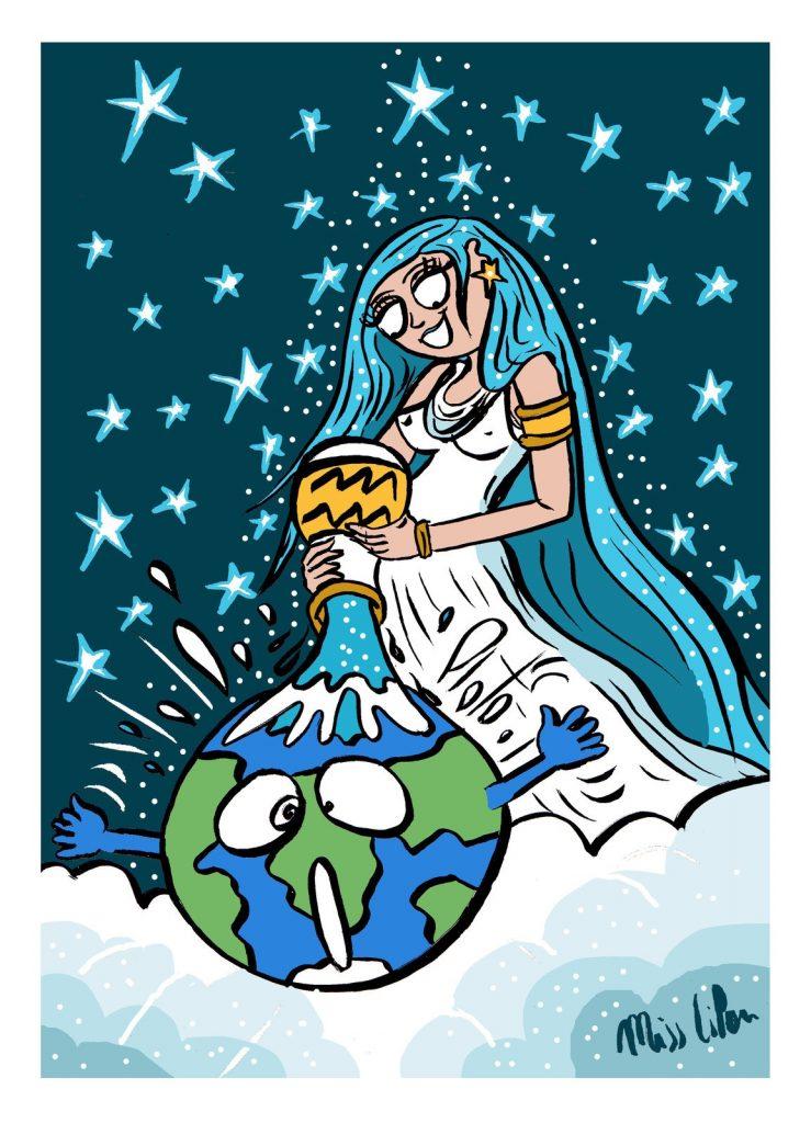 dessin de Miss Lilou sur l'arrivée de l'ère du Verseau, solidarité, fraternité et coopération