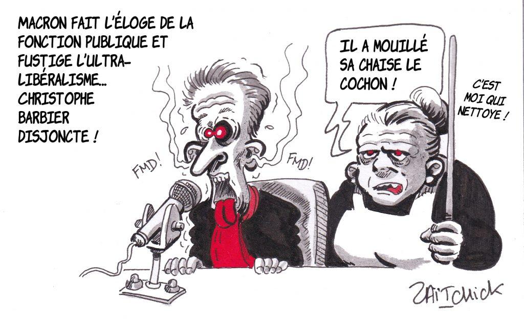 dessin de Zaïtchick sur l'épidémie de coronavirus Covid-19 et la réaction de Christophe Barbier à l'intervention télévisée d'Emmanuel Macron