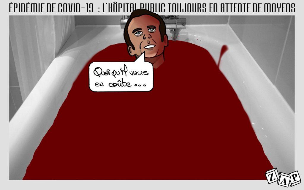 dessin d'actualité de Zap sur le discours d'Emmanuel Macron sur l'épidémie du Covid-19 et la réalité de l'hôpital public