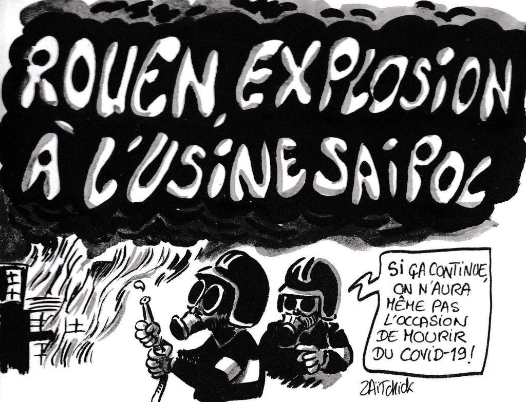 dessin de Zaïtchick sur l'épidémie de coronavirus Covid-19 et l'incendie de l'usine Saipol à Rouen