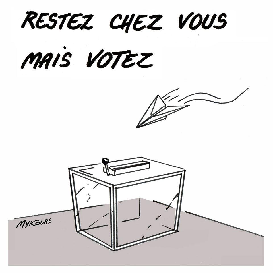 dessin d'actualité humoristique de Mykolas sur l'épidémie de covid-19, le confinement et le maintien des élections municipales