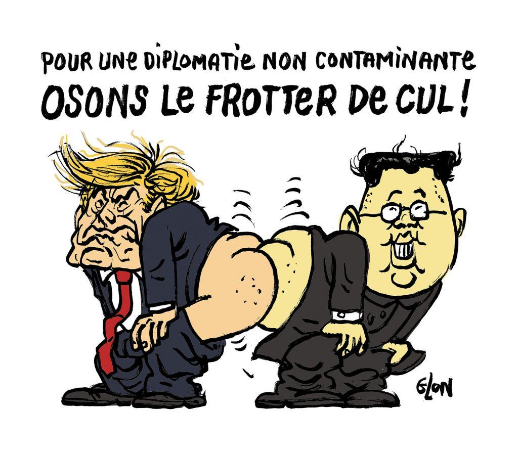 dessin humoristique de Glon sur l'épidémie de coronavirus Covid-19, les gestes barrières et la diplomatie entre Donald Trump et Kim Jong-un