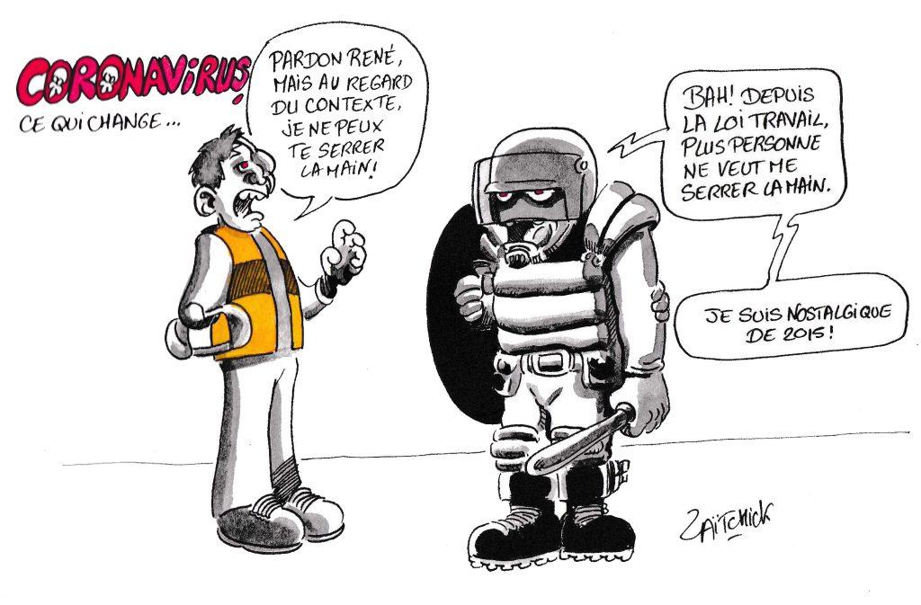 dessin de Zaïtchick sur l'épidémie de coronavirus Covid-19 et les gilets jaunes qui adoptent des gestes barrières face à la police
