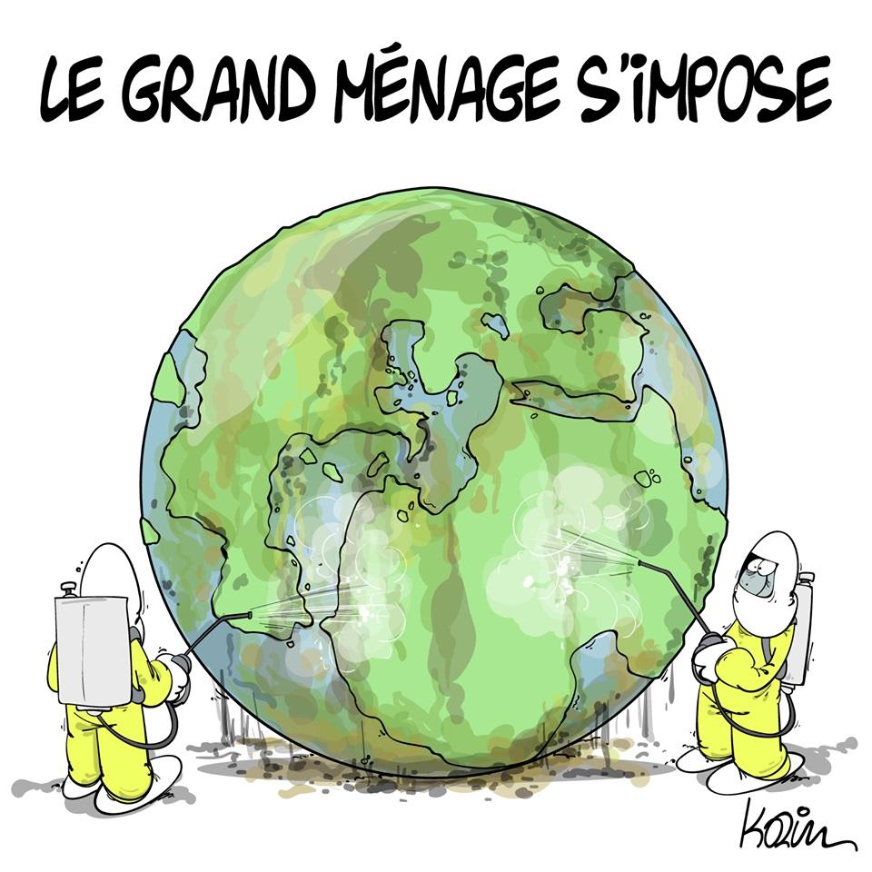 dessin d'actualité humoristique de Karim sur la lutte contre l'épidémie de coronavirus Covid-19 et la désinfection planétaire