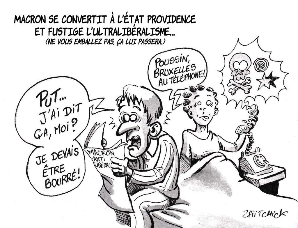 dessin de Zaïtchick sur l'épidémie de coronavirus Covid-19 et l'intervention télévisée d'Emmanuel Macron