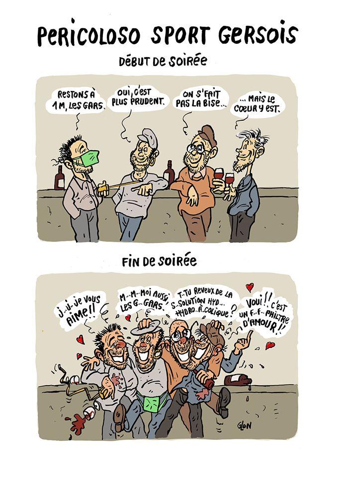 dessin humoristique de Glon sur l'épidémie de coronavirus Covid-19, les gestes barrières et les soirées dans le Gers