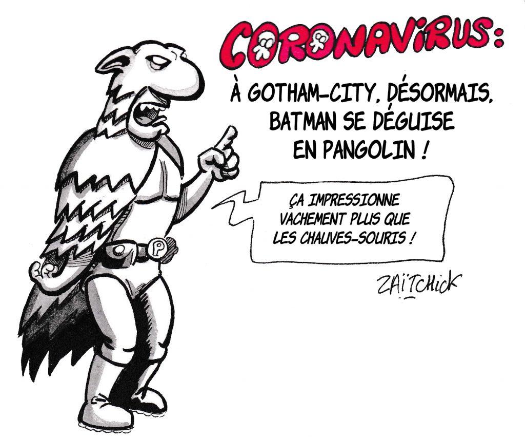 dessin de Zaïtchick sur l'épidémie de coronavirus Covid-19 et le costume de Batman