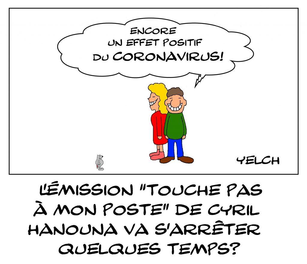 dessin de Yelch sur l'épidémie de coronavirus et le possible arrêt de l'émission TPMP de Cyril Hanouna