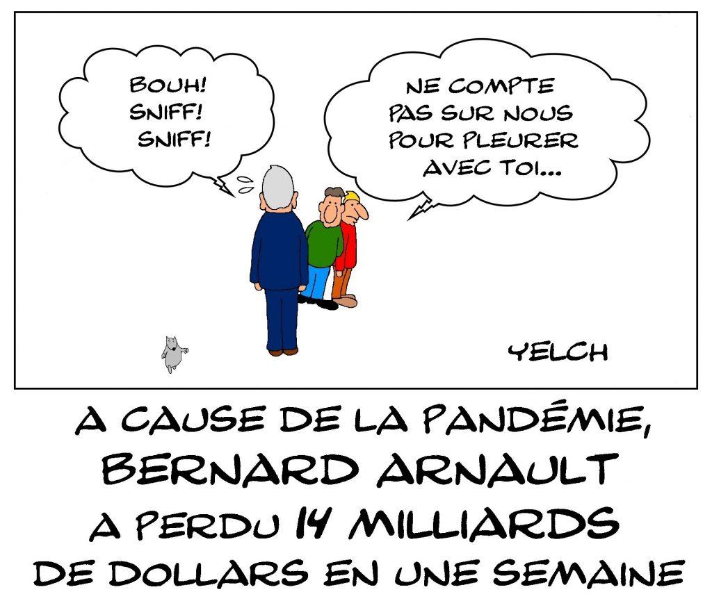 dessin de Yelch sur l'épidémie de coronavirus et les pertes financières de Bernard Arnault