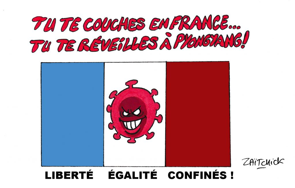 dessin de Zaïtchick sur le drapeau français marqué par le coronavirus et l'épidémie de covid-19