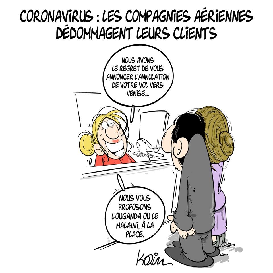 dessin d'actualité humoristique de Karim sur l'épidémie de coronavirus Covid-19 et le remboursement des vols annulés par les compagnies aériennes