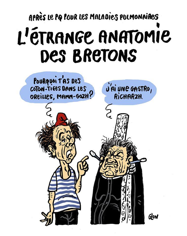 dessin humoristique de Glon sur l'épidémie de coronavirus Covid-19 et l'anatomie des bretons