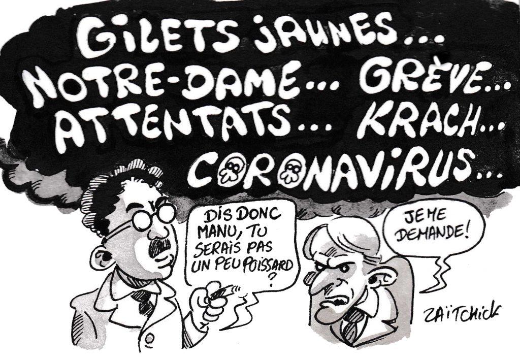 dessin de Zaïtchick sur l'épidémie de coronavirus Covid-19 et les évènements de la présidence d'Emmanuel Macron