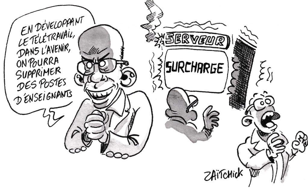 dessin de Zaïtchick sur l'épidémie de coronavirus Covid-19 et Jean-Michel Blanquer envisageant de développer le télétravail