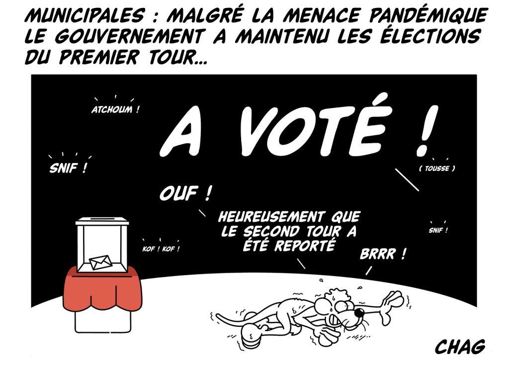 dessin d'humour de Chag sur le maintien du premier tour des élections municipales malgré l'épidémie de coronavirus Covid-19