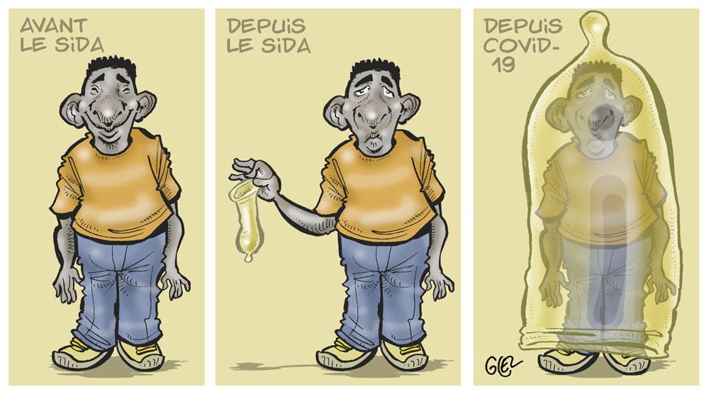 dessin humoristique de Glez sur l'épidémie de coronavirus Covid-19 aux États-Unis et l'évolution de la protection sanitaire